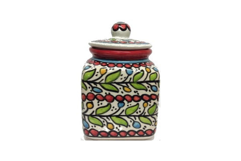 Square Sugar Pot (large) - Red