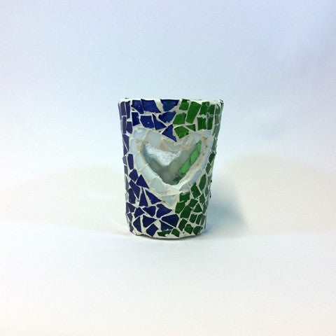 Tea Light Holder (cup) - Transparent Heart Design