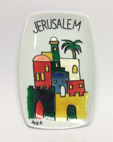 Jerusalem White Plate - rectangular shape