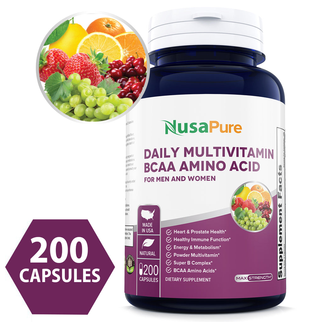 Daily Multivitamin BCAA Amino Acid 200 caps (Non-GMO & Gluten Free) for Men & Women Won't Upset Your Stomach - Natural Energy - Anti Aging Immune System Support - 100% Money Back Guarantee!