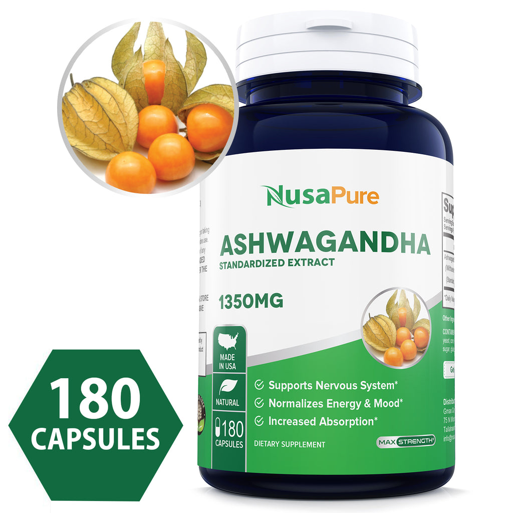 Ashwagandha 1350mg 180caps (Non-GMO, Standardized Extract & Gluten Free)  Stress Relief, Anti-Anxiety & Adrenal, Mood & Thyroid Support - Made in USA  -