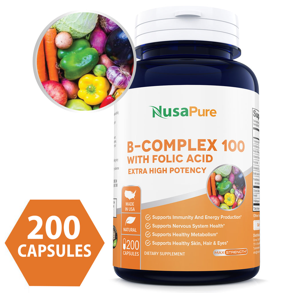 B-Complex 100 (Non-GMO, Soy Free & Gluten Free) 200 Capsules - Aids Metabolism and Antioxidant Support - with Choline, Inositol, Paba & Folic Acid - 100% Money Back Guarantee!