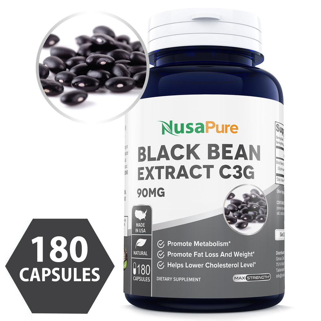Black Bean Extract C3G 90mg 180caps (Non-GMO & Gluten Free) Superior Fat Burning Properties Increases Your Metabolism - Made in USA - 100% Money Back Guarantee - Order Free Risk!