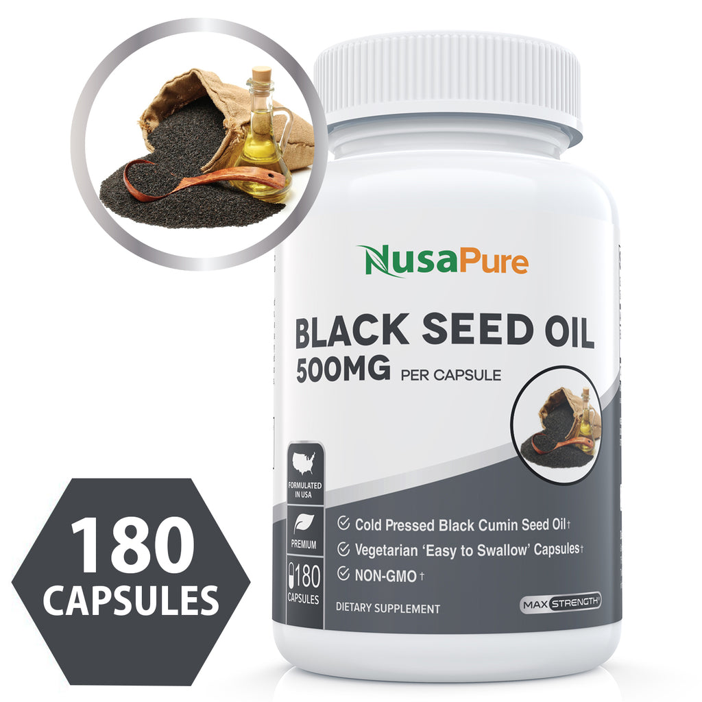 Best Black Seed Oil Softgel 180 Capsules (NON-GMO, Vegetarian & 500mg each) Made from Cold Pressed Nigella Sativa