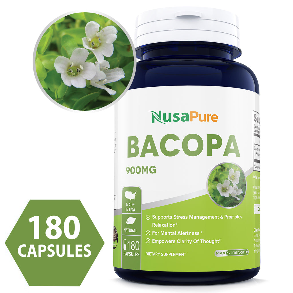 Best Bacopa Leaf Extract 900mg/serving ( serving is 2 caps). 180 Capsules 90 days supply (Non-GMO & Gluten Free) Brain Supplement, Nootropic & Brain Booster for support of Mental Focus + Memory + Clarity - 100% Money Back Guarantee!*