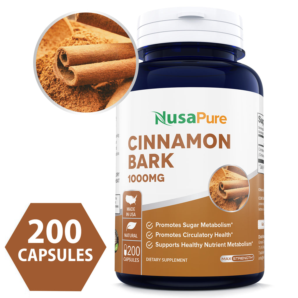 Cinnamon Bark 1000mg 200caps (Non-GMO & Gluten Free) Natural Anti-Bacterial & Anti-Microbial Properties - Made in USA - 100% Money Back Guarantee!