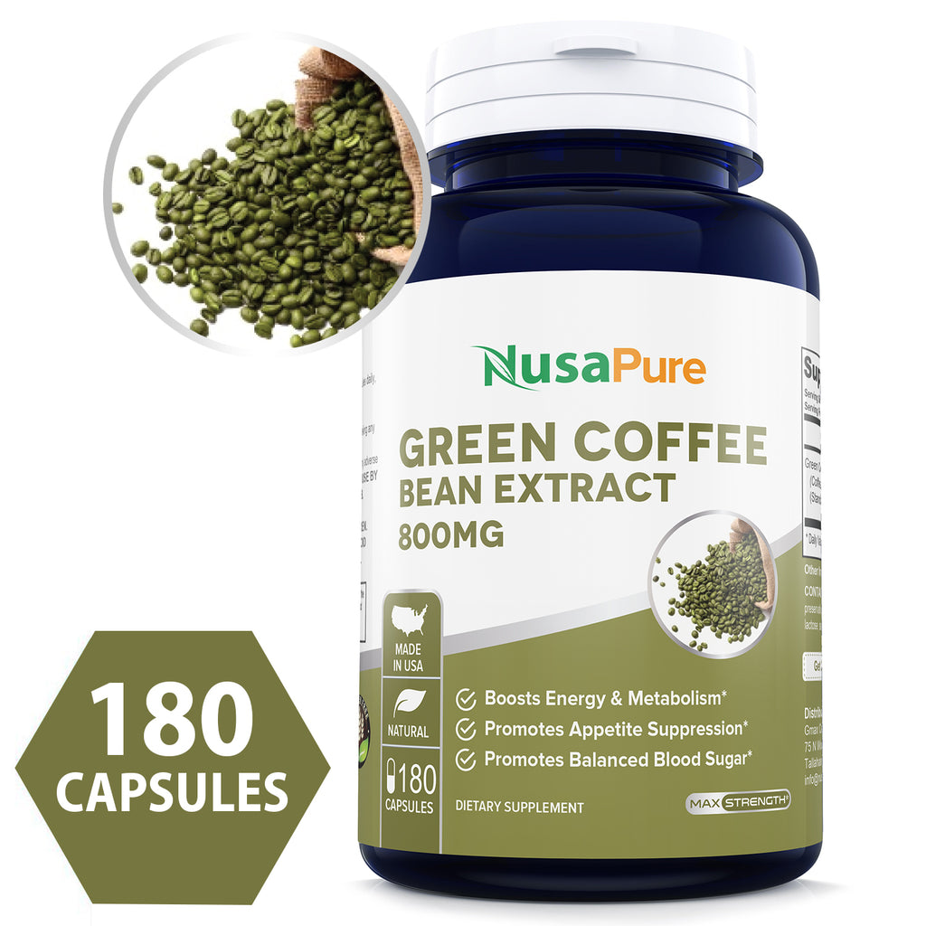 Green Coffee Bean Extract 800mg 180caps (Non-GMO, Gluten Free & 50% Chlorogenic Acid) Max Strength Natural GCA Antioxidant Cleanse for Weight Loss - Made in USA - 100% Money Back Guarantee!
