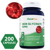 Best Iron 50mg Glycinate 200 Capsules (NON-GMO) Support Athletes, Red Blood Cell formation, Hemoglobin production, Menstrual and Energy - Non-Constipating Form of Iron - 100% Money Back Guarantee