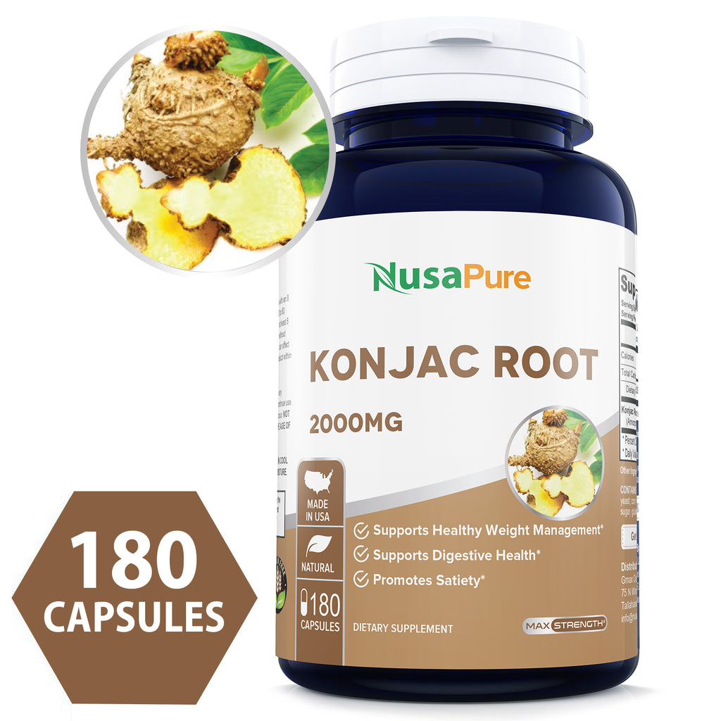 Konjak Root Extract 2000mg 180caps (Non-GMO & Gluten Free) Supports Healthy Weight Management, Supports Digestive Health, Promotes Feeling of Satiety*- Made in USA - 100% Money Back Guarantee!