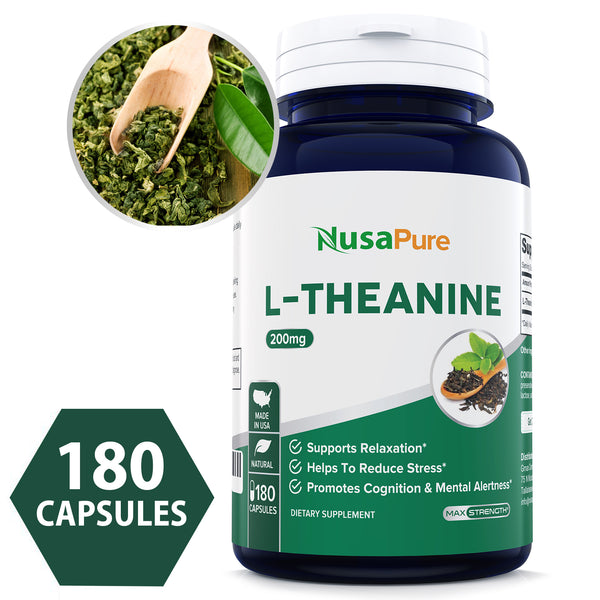 Best L-Theanine 200mg Supplement - 180 Capsules (NON-GMO) - L Theanine to Support Relaxation, Focus, Stress Relief & Sleep - Powerful When Paired With Jiaogulan - Extra Strength Pills