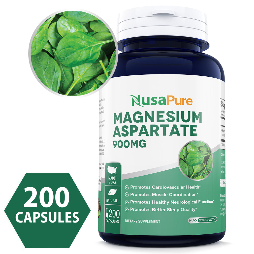 Magnesium Aspartate 900mg 200caps (Non-GMO & Gluten Free) Supports Normal Heart Function, Blood Pressure, and Bone Formation* - Made in USA - 100% Money Back Guarantee!