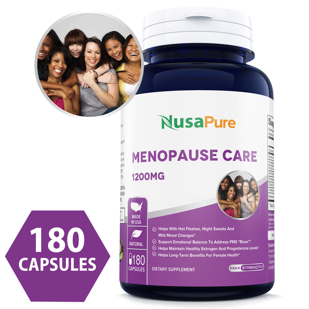 Best Menopause Care 180caps (Non-GMO & Gluten Free) Hot Flash, Night Sweats, PMS Relief Linked to Menopause - Made in USA - 100% Money Back Guarantee!
