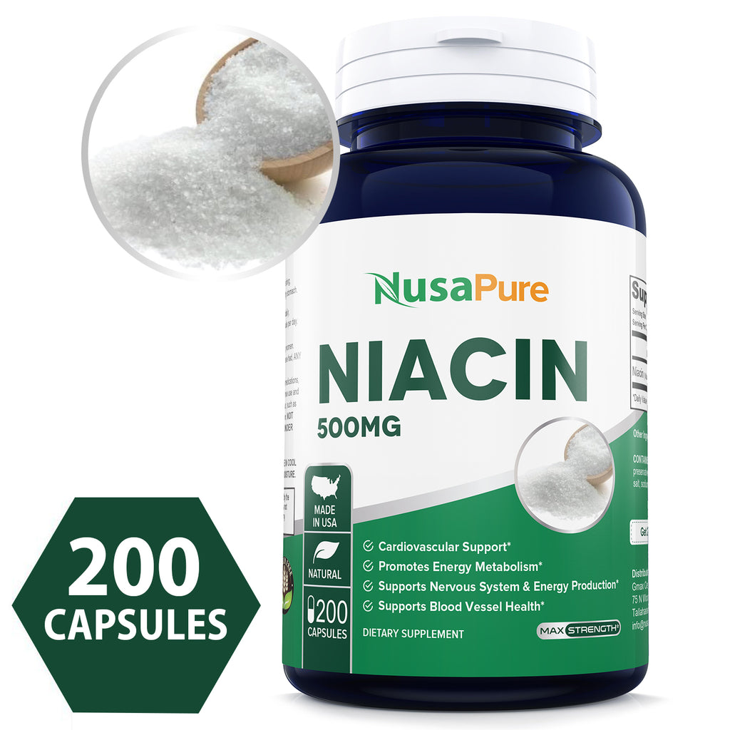 "Niacin 500mg 200caps (Non-GMO & Gluten Free) Supports Nervous System and Energy Production *Be Aware Niacin May Cause""Flush""* - Made in USA - 100% Money Back Guarantee!"