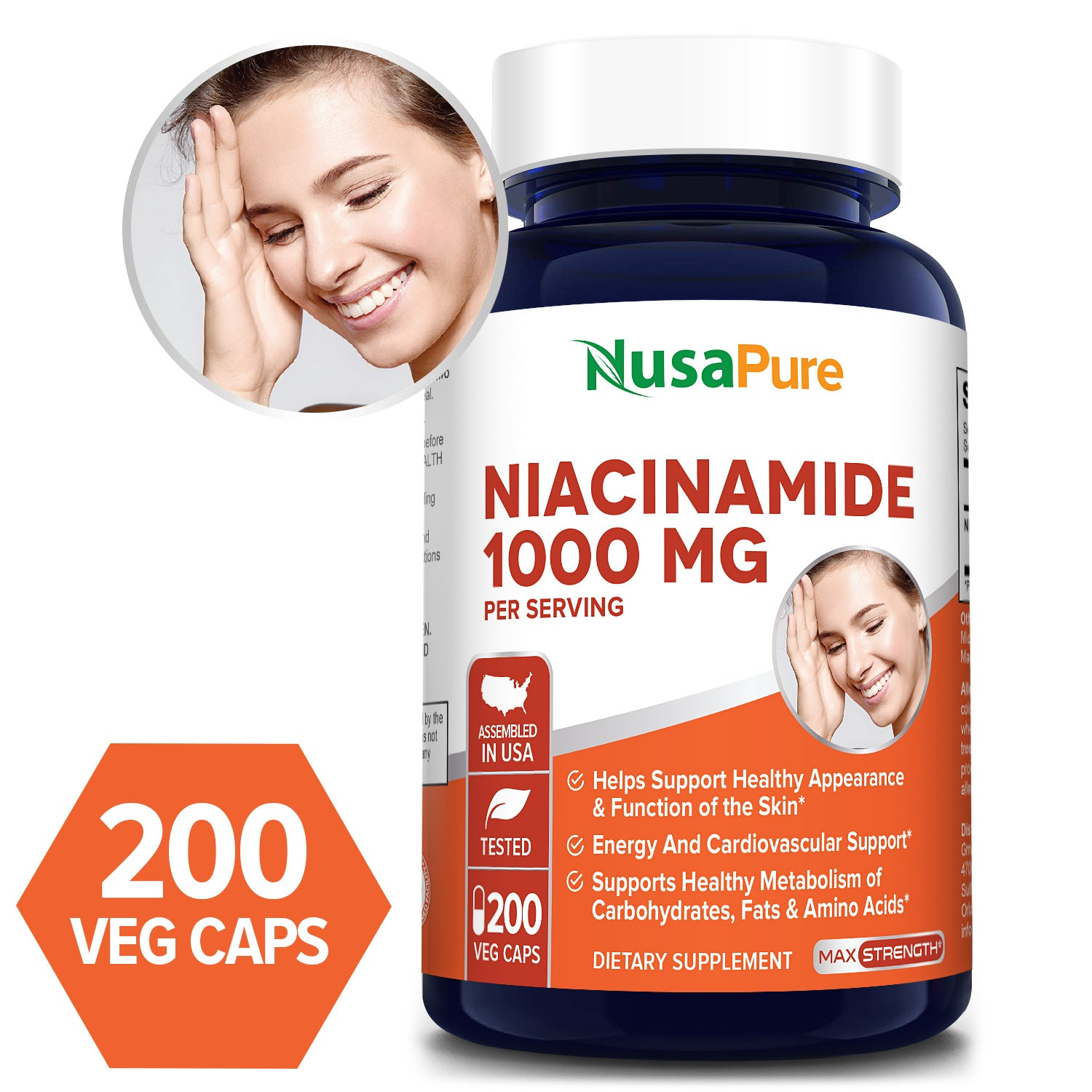 Niacinamide 1000mg 200 Veggie Capsules (non-gmo & Gluten Free) Flush Free - Energy Booster, Cell Regenerator, That Supports Cognitive Decline, Anti-aging - 100% Money Back Guarantee!
