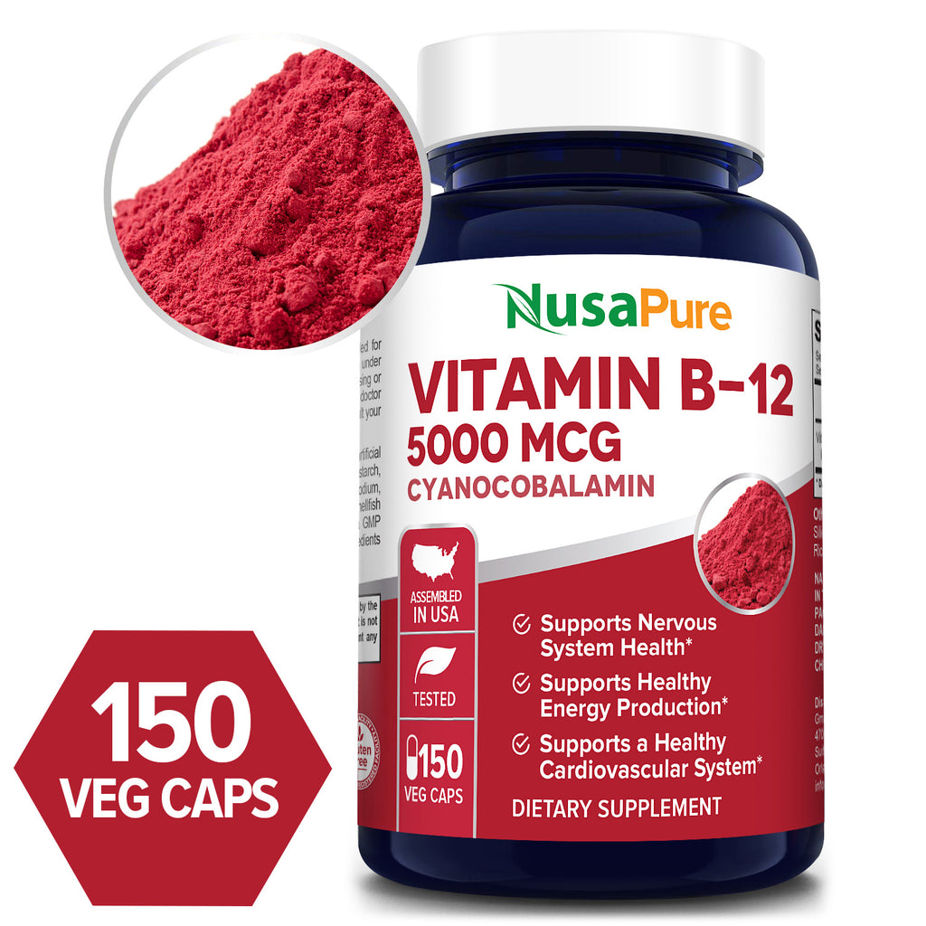 Vitamin B12 -5000 MCG -150 Day Supply (100% Vegetarian, NON-GMO & Gluten Free) Supports Nervous System Health* Supports Healthy Energy Production* Supports a Healthy Cardiovascular System*