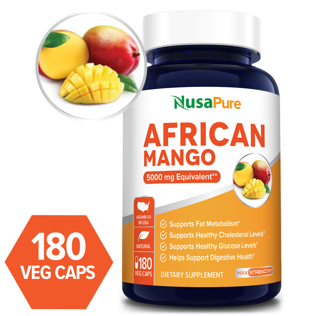 African Mango Extract -180 veggie Capsules-180 days supply (Vegetarian,NON-GMO & gluten free) - 5000MG equivalent -Supports weight management,fat metabolism and healthy digestion*