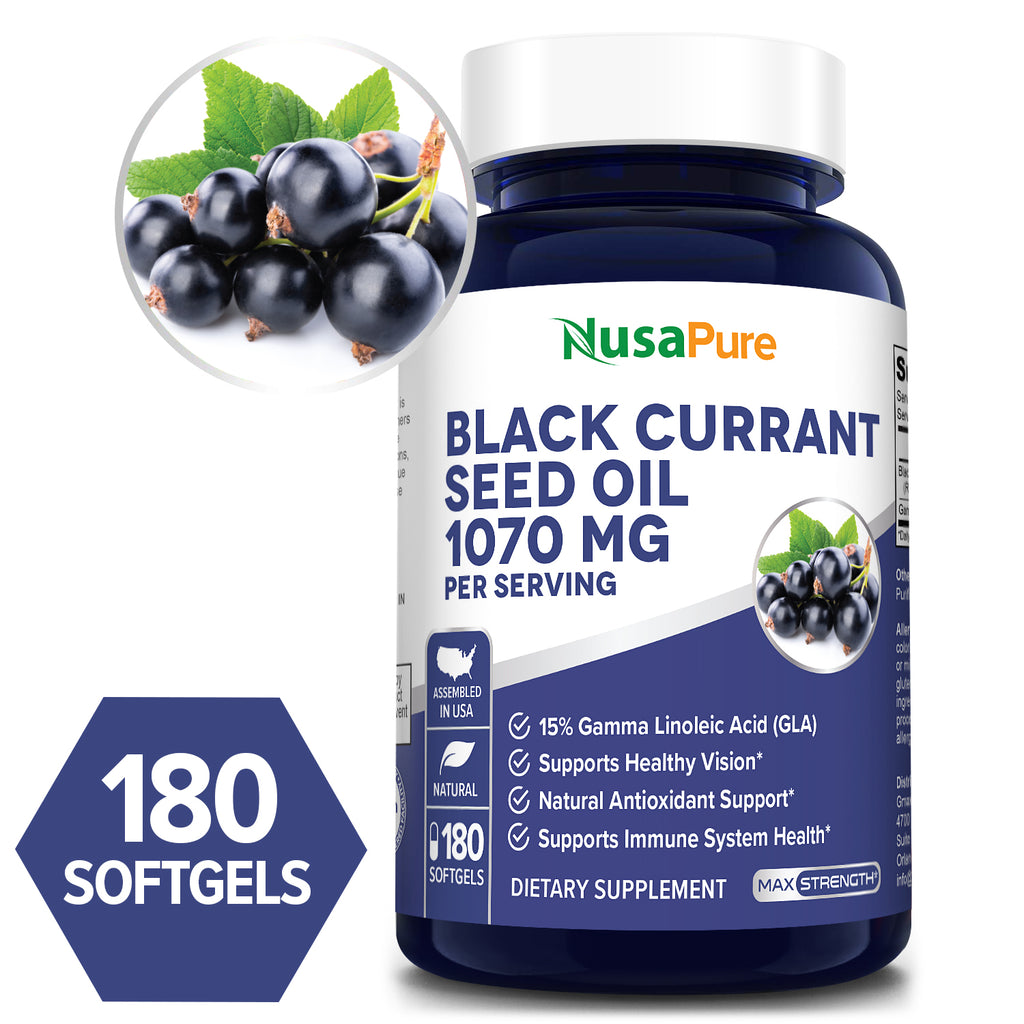 Black Currant seed Oil - 1070 Mg/serving with 15% GLA- 180 Veggie Capsules for a 90 day supply (Vegetarian,NON-GMO and Gluten Free) Softgels -Supports healthy immune system and healthy vision*