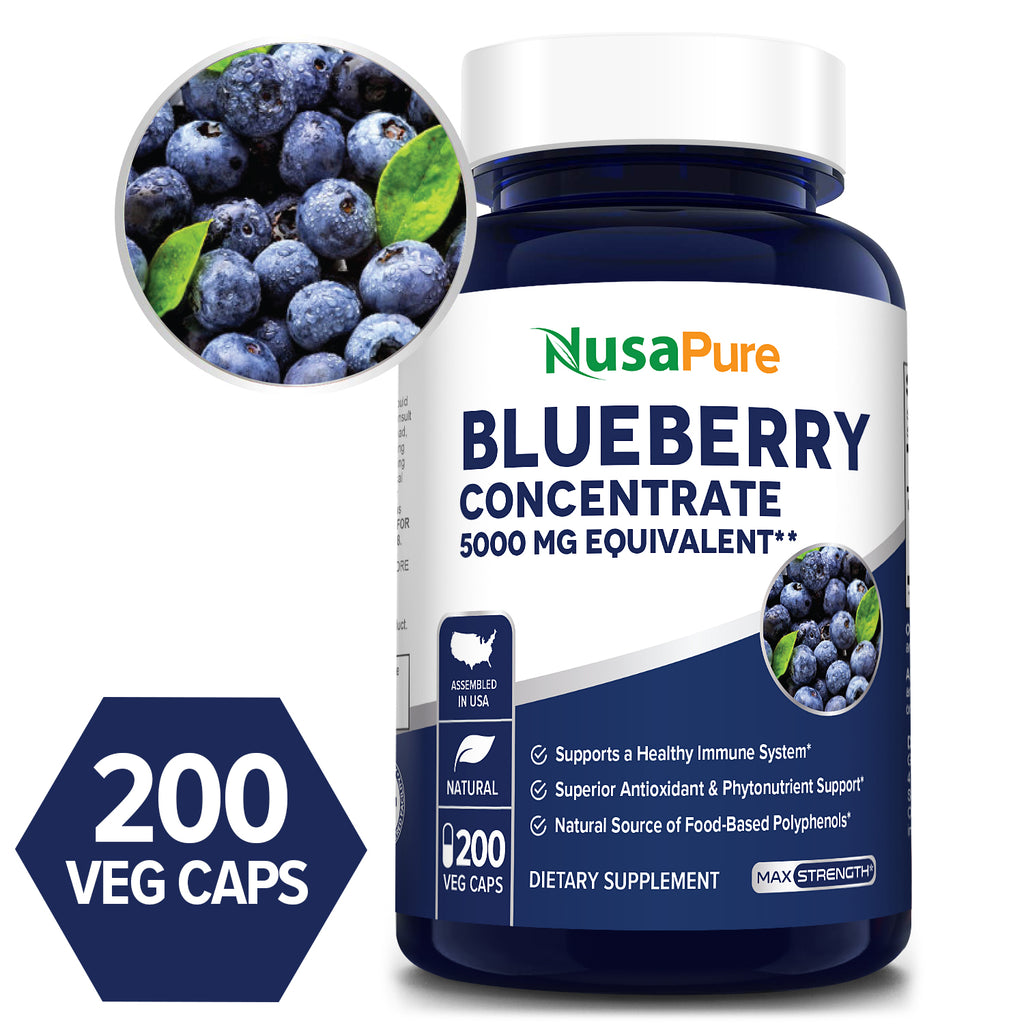 Blueberry Concentrate 5000 mg - 200 Veg Caps (100% Vegetarian, Non-GMO & Gluten-free)