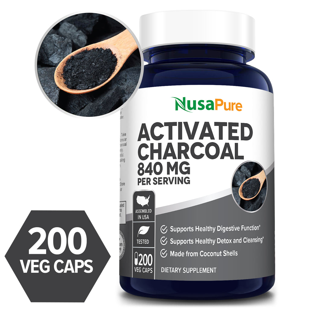 Activated Charcoal 840mg/serv - 60+ Day Supply (100% Vegetarian, Non-GMO & Gluten Free) - Support for natural detox and Support for healthy digestion*