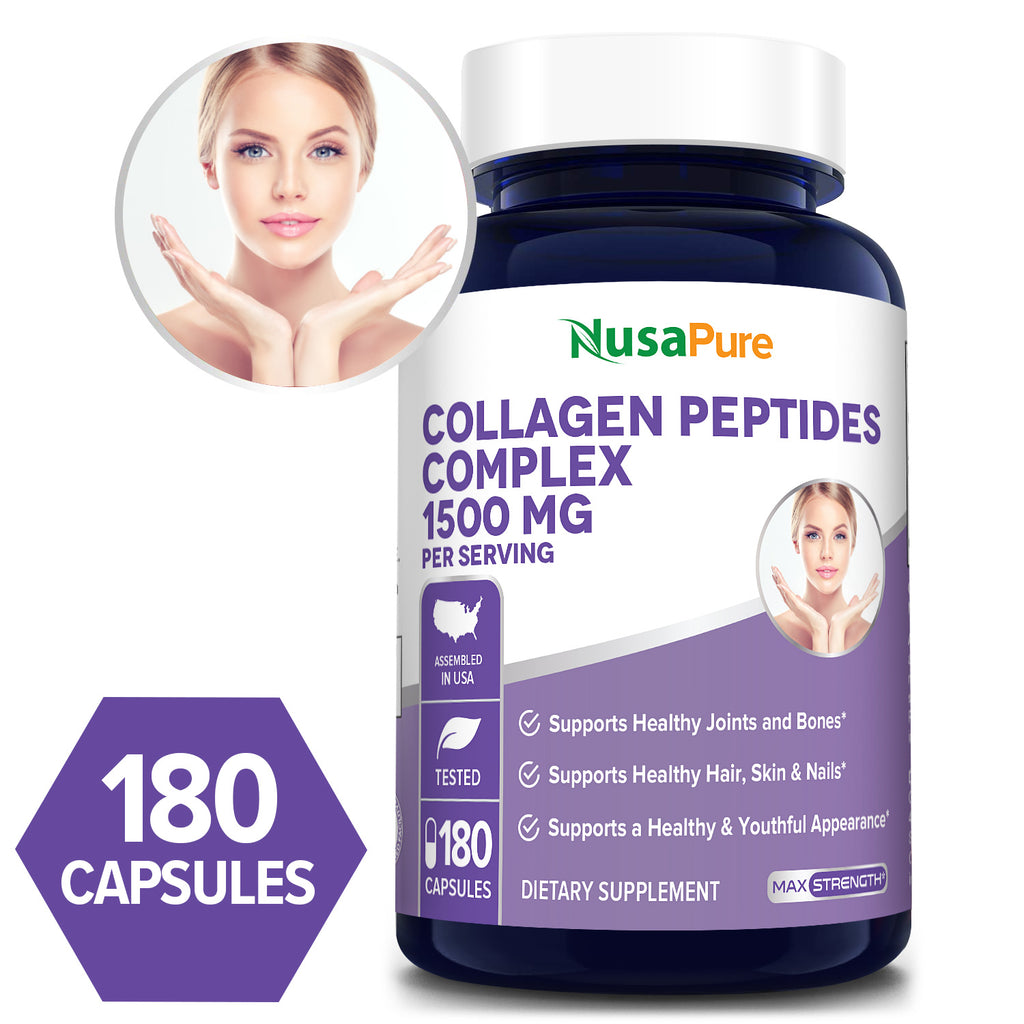 Collagen Peptides Complex 1500 mg - 180 Caps  (Non-GMO & Gluten-Free)