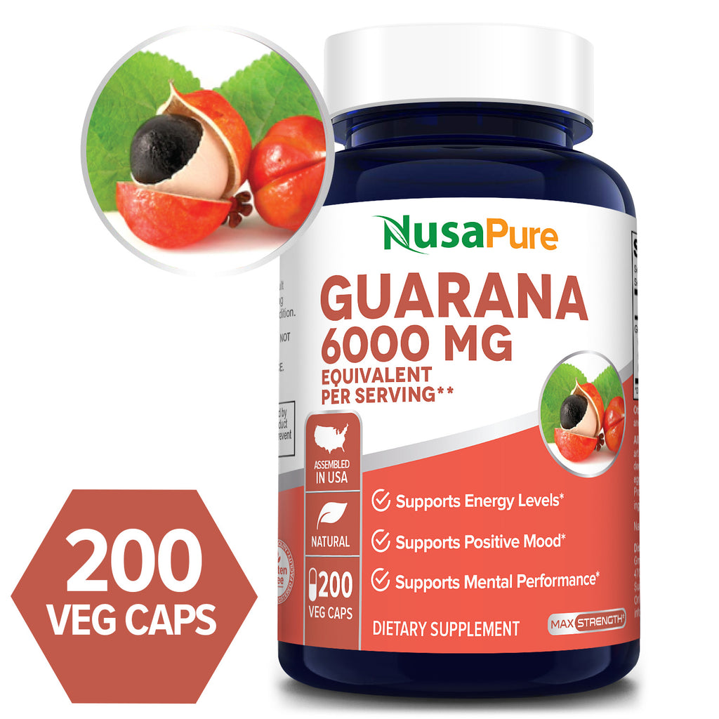 Guarana Extract 20:1 - 6000mg/Serv- 100 Day Supply -(100% Vegetarian, Non-GMO & Gluten Free) Supports Energy Levels* Supports Positive Mood* Supports Mental Performance*