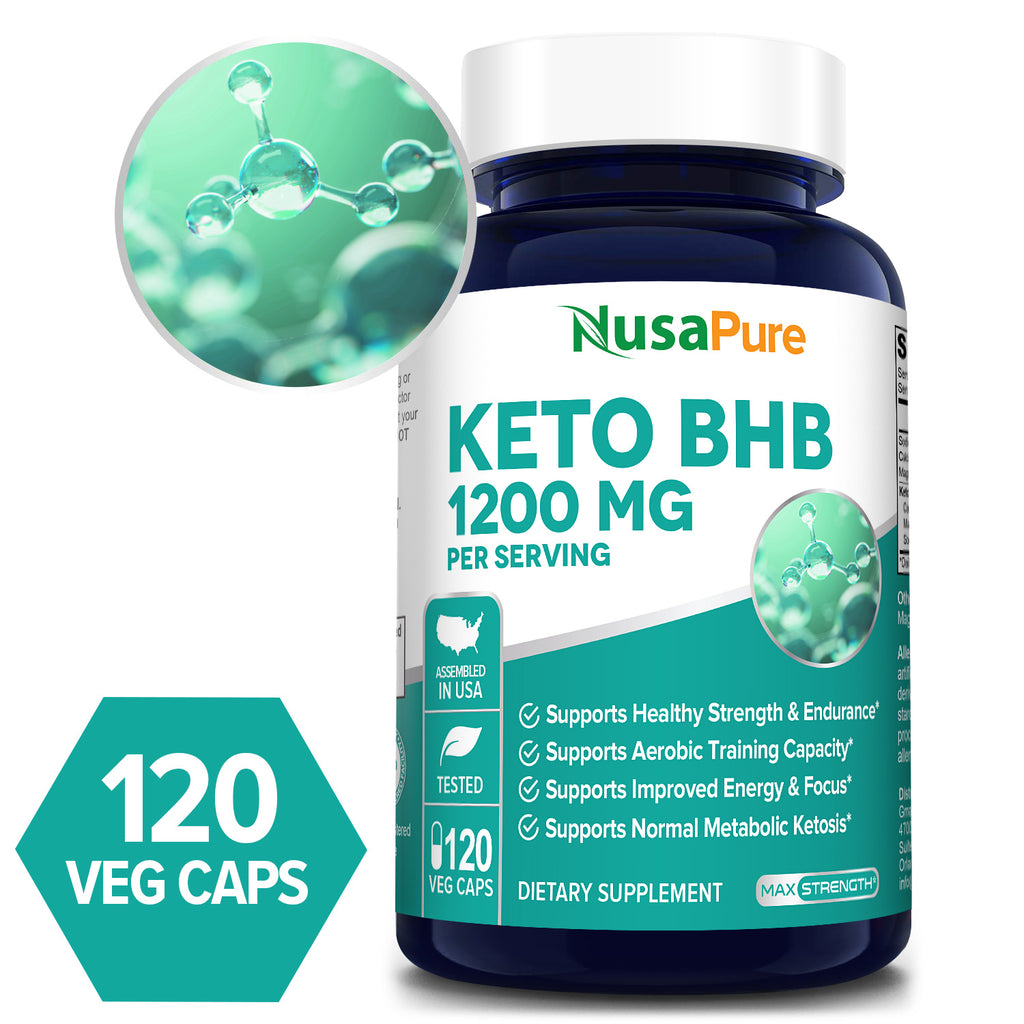 Keto BHB -1200mg/Serv -60 Day Supply (100% Vegetarian, Non-GMO, Gluten Free) Supports Healthy Strength & Endurance* Supports Aerobic Training Capacity* Supports Improved Energy & Focus* Supports Normal Metabolic Ketosis*