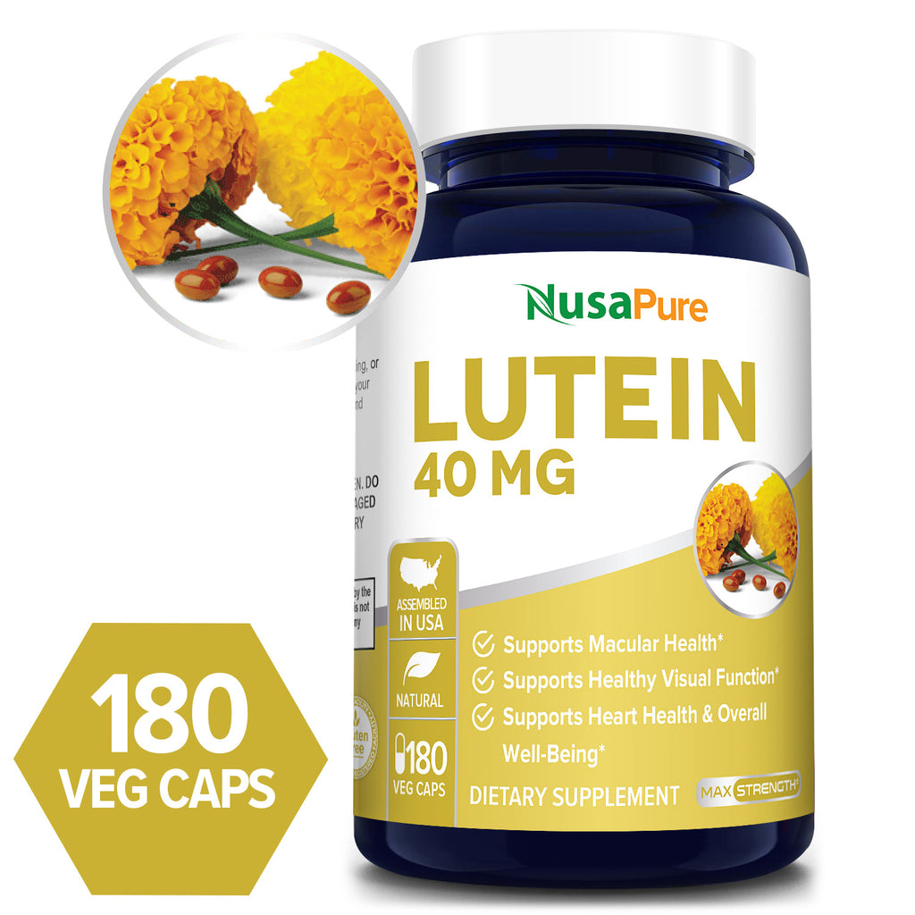 Lutein - 40mg/Serving - 180 Day Supply (100% Vegetarian, NON-GMO & Gluten Free) Supports Macular Health* Supports Healthy Visual Function* Supports Heart Health and Overall Well-Being*