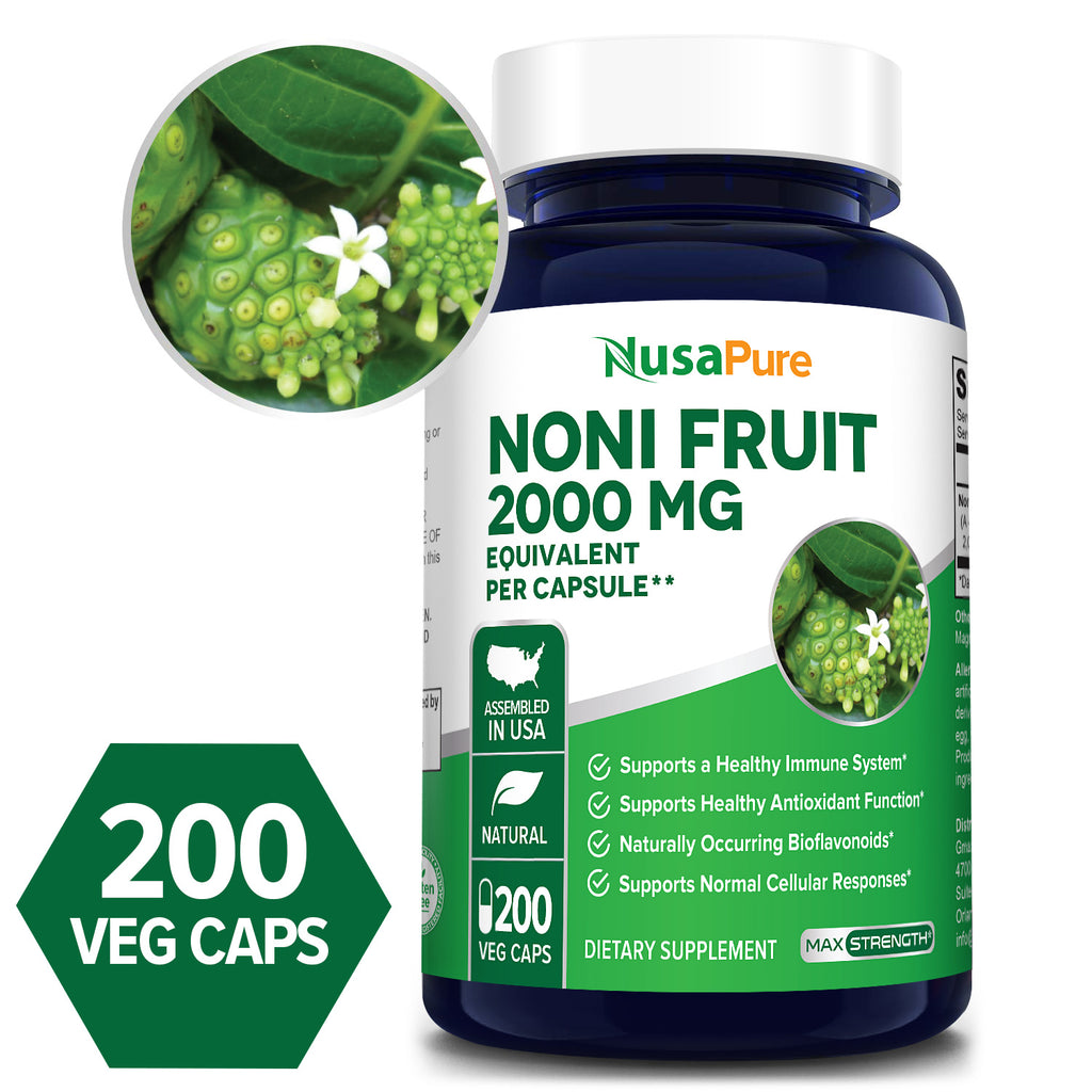 Noni Fruit Extract 4:1-2000mg-200 Day Supply (100% Vegetarian, Non-GMO & Gluten Free) Supports a Healthy Immune System* Supports Healthy Antioxidant Function* Naturally Occurring Bioflavonoids* Supports Normal Cellular Response*