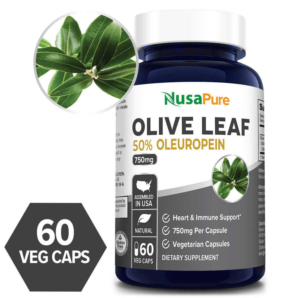 Olive Leaf Extract 750 mg -50% Oleuropein- 60 DAY SUPPLY (100% Vegetarian, NON-GMO, Gluten Free) Supports Heart Health* Supports Immune Health* Healthy Antioxidant*
