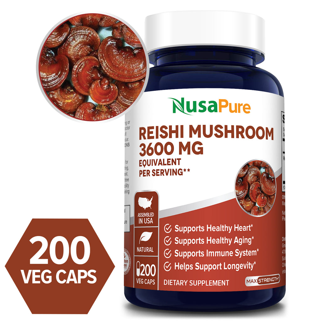Best Reishi Mushroom Extract 3600mg(serving 2 caps) 200 Veggie Caps (100% Vegetarian, NON-GMO & Gluten Free) Promotes Heart Health and Balances Blood Pressure, Helps Balance Hormones