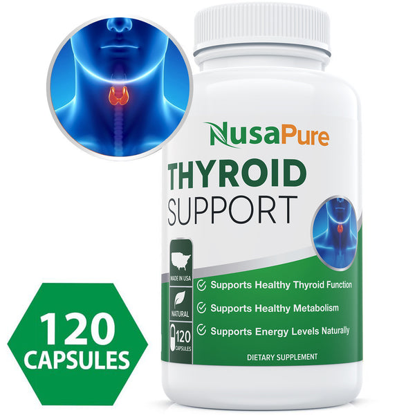 PREMIUM Thyroid Support Supplement (NON-GMO) 120 caps for Hypothyroidism with Ashwaganda, Iodine, Zinc, T3 Supplement, kelp, Vitamin B12, Selenium, Copper for Thyroid Energy: Potent Thyroid Supplement