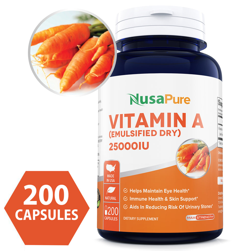 Vitamin A 25000IU Powder 200caps (Non-GMO & Gluten Free) Supports Vision, Growth, Reproductive Function, Immunity, Skin and Mucous Membranes - Made in USA - 100% Money Back Guarantee!