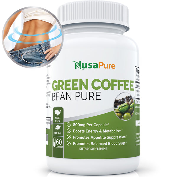 Green Coffee Bean Extract Pure for Weight Loss: Highest Grade, Quality Antioxidant GCA (Standardized to 50% Chlorogenic Acid): Burns Both Fat and Sugar: Lose Weight Fast: 60 Capsules