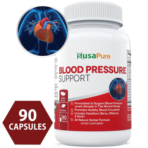 Potent Blood Pressure Support  (NON-GMO) with Hawthorn Berry Extract: Premium Natural Herbs and Vitamins