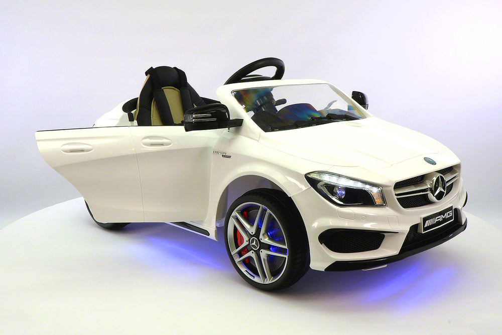 2018 12volt Mercedes CLA45 AMG Ride-On Car with USB MP3 Player and Parental Remote Control White