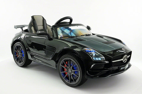 2017 12V Battery Power R/C Mercedes SLS AMG LED LCD Screen Wheels MP4 Ride On Car in Black