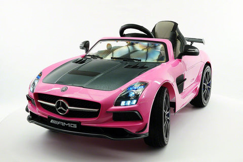 2017 12V Battery Power R/C Mercedes SLS AMG LED Wheels MP4 LCD Screen Ride On Car Pink