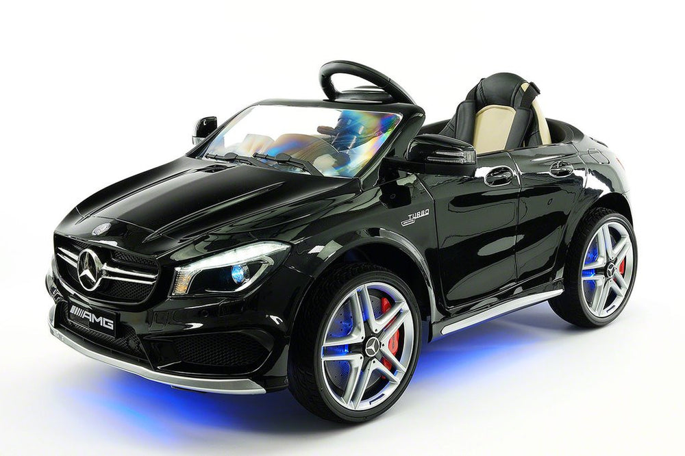 2018 12volt Mercedes CLA45 AMG Ride-On Car with USB MP3 Player and Parental Remote Control in Metalic Black