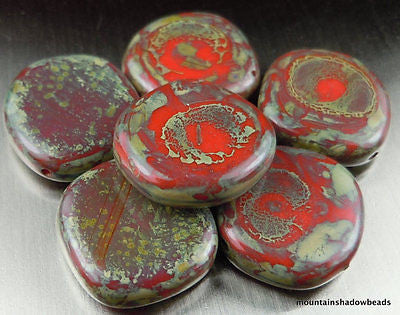 Czech Picasso Beads - Czech Glass Beads - 15mm Coin Opaque Red Picasso - 6