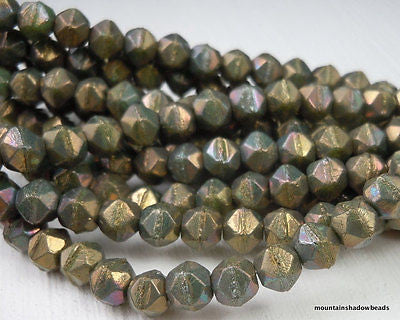 6mm English Cut Beads - Turquoise Bronze Iris - Czech Glass 25 pcs (G - 138)