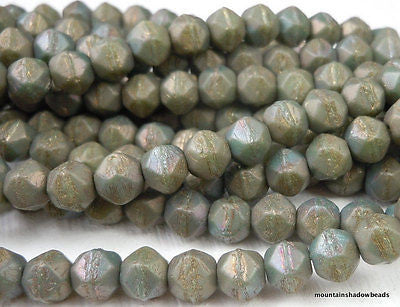 6mm English Cut Beads - Matte Turquoise Bronze Iris - Czech Glass 25 pcs (G - 13