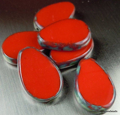 Czech Table Cut Drop Beads - Czech Glass Beads 18mm Opaque Red Picasso Beads - 6