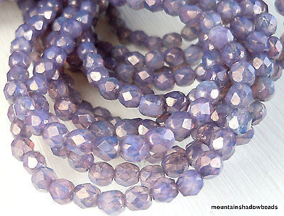 4mm Czech Beads - Milky Amethyst Luster Firepolished Faceted 50 pcs (G - 23)