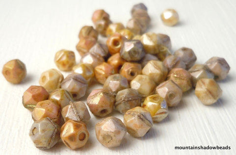 English Cut Czech Glass Beads 5mm Earth Tone English Cut Assortment - 50