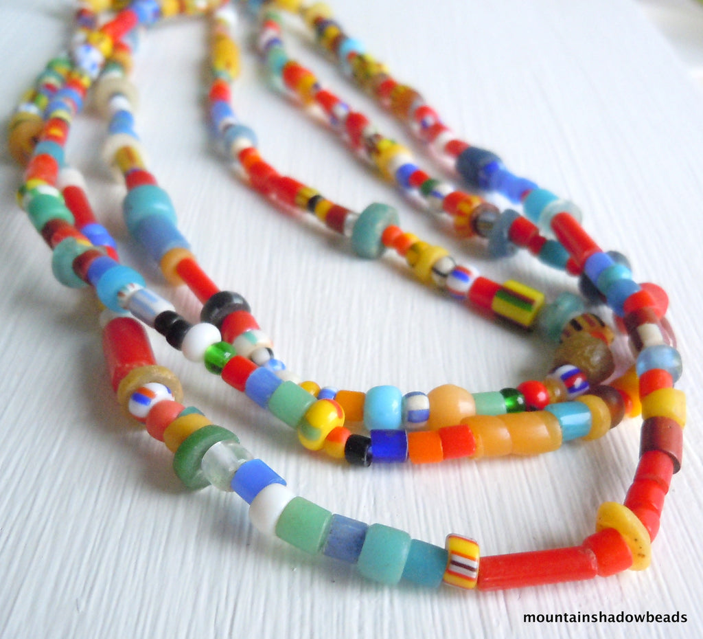 African Trade Beads Christmas Beads 36 Inch Strand Assorted Sizes
