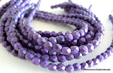 4mm Czech Bead Metallic Suede Purple Firepolished Faceted 50 pcs (G - 551)