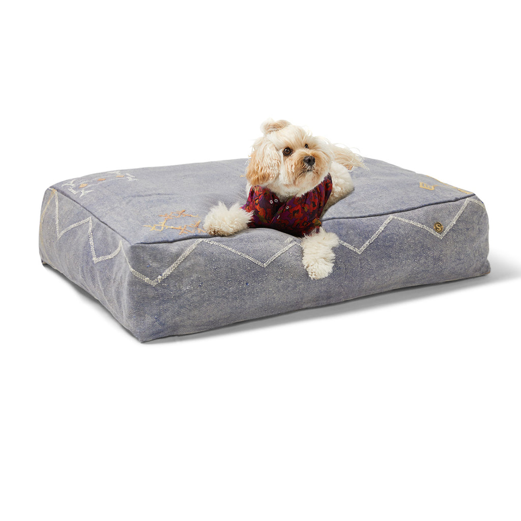 Cactus Silk Dog Bed, Blue Medium