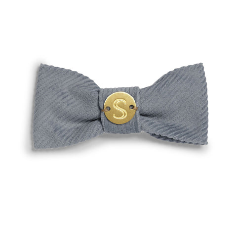Corduroy Bow Tie - Blue/Grey