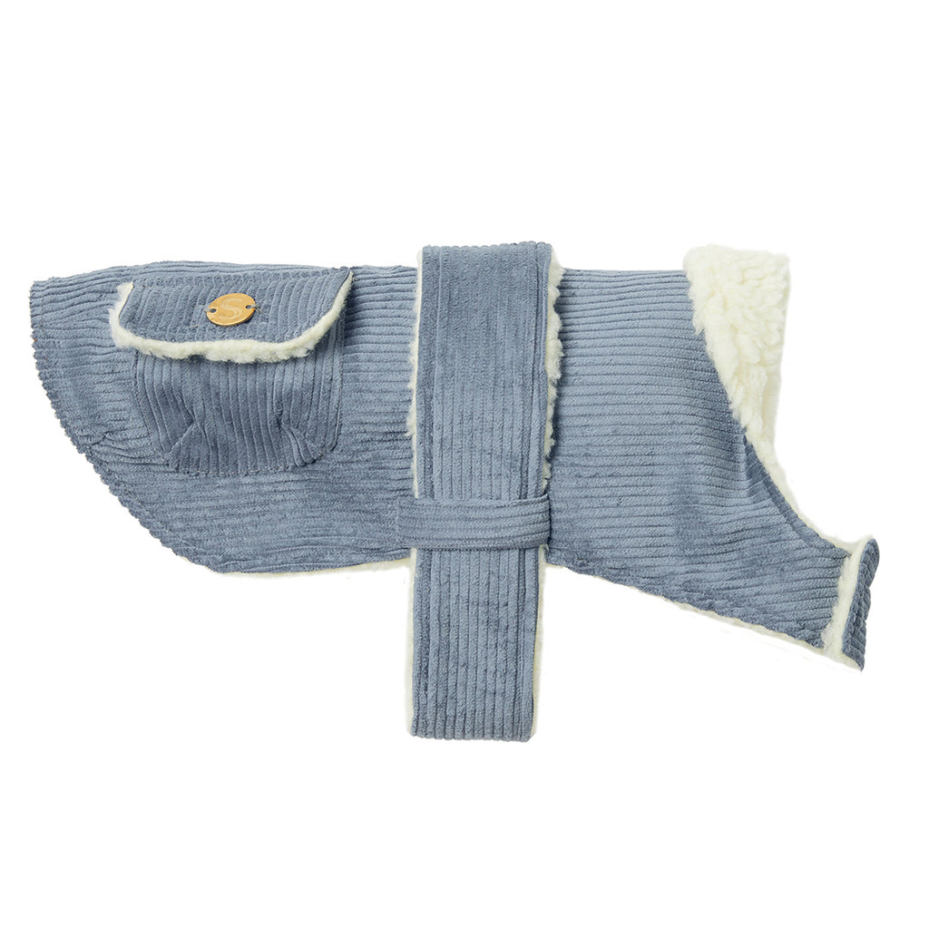 Corduroy Dog Coat - Sky Blue