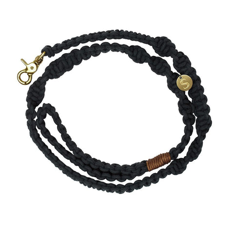 sebastian says dog lead leash macrame black gold
